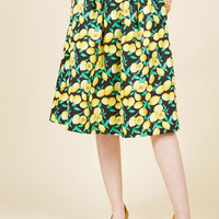 Caught in a Citrus Cycle A-Line Skirt