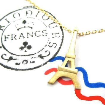Eiffel Tower Pendant Paris France Travel Necklace in Gold