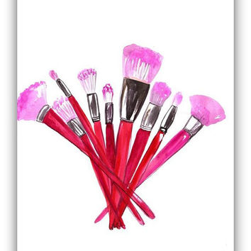 Pink  Makeup brushes set, print, coco chanel, fine art, watercolour, fashion, beauty, wall decal, girl room decor, gift for her, posters