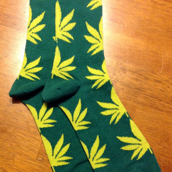 Custom Chartreuse on Hunter Green  Marijuana Weed Pot Leaf Cannabis Unisex Adult Cotton Crew Socks Gift Idea