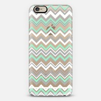 Mint Gray White Chevron Transparent  iPhone 6 case by Organic Saturation | Casetify