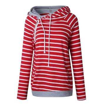Red Striped Hooded Sweater