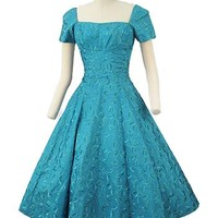 Vintage Teal Dress-50's Party Dresses #tealdress #50sdress #vintagedress #1950sdress #vintagepartydress #promdress