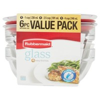 Rubbermaid 6-Piece Glass Food Storage Value Pack - Walmart.com