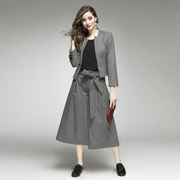 HIGH QUALITY Women's Elegant Formal Outfit Hidden Breasted Blazers Wide Led Pants Solid Color Grey 2 Pieces Set Loose Twin Sets