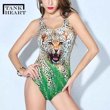 Tank Heart Leopard Print Sexy Swimsuit One Piece Sports Plus Size Swimwear Women Trikini one-piece suits Monokini Bathing Suit