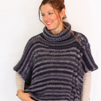 Grey poncho, blanket poncho, boho poncho, grey turtleneck sweater, handknit wrap, ready to ship