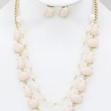 """16"""" ombre glass beads layered two toned bib necklace .50"""" earrings"""