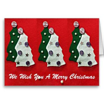 Green White Felt Christmas Trees on Red Card