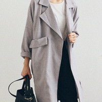 Gray Plaid Lapel Coat