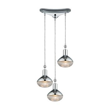 Ravette 3-Light Triangular Pendant Fixture in Polished Chrome with Clear Ribbed Glass