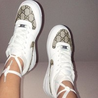 Gucci x NIKE Air Force 1 Women Men Classic Running Sport Casual Shoes Sneakers White/Khaki Print