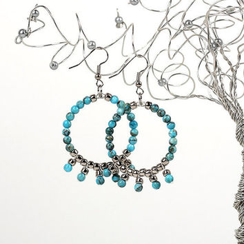 Gypsy Hoop Earrings in Turquoise and Silver Bead Fringe Carnival Collection