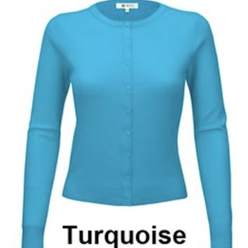 Mak Classic Button Up Sweater in Turquoise