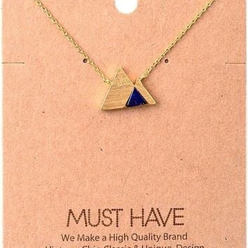 Must Have-Natural Stone Necklace, Navy