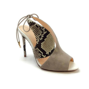 Alani Gray Suede and Python Sandals by Alexandre Birman