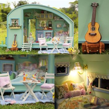 Cute Room DIY Dollhouse Miniature Doll House With Furnitures Wooden Handmade Toys TIME TRAVEL Gift For Chrildren A016 #E
