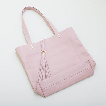 Pale Pink Leather Tote with Tassel, Everyday Leather Tote, Minimal Leather Tote