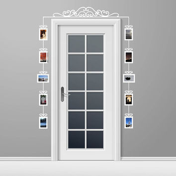 Photo Frame Decals Set of 10 - Swirl Scroll Photo Frames Vinyl Wall Decals - Over the Door Scroll Vinyl Decal 22540