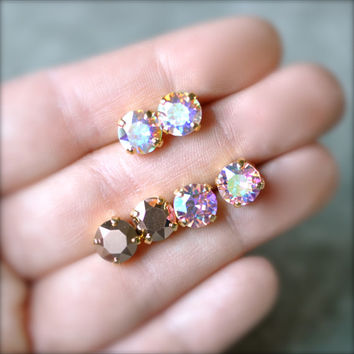 Aurora Borealis Rose Gold Stud Earrings Swarovksi Crystal Pink Mist 8mm Set of Three Gift Stud levrback Mashugana