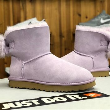 SPBEST UGG winter new lady snow boots classic novelty series bow mini boots 1094967 light purple