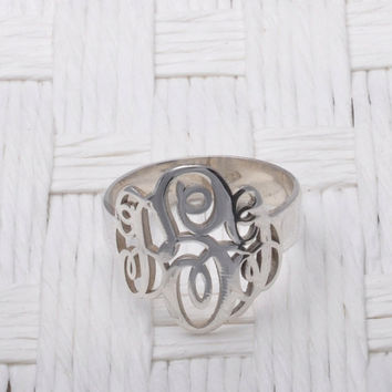 Monogram Ring Sterling Silver Interlocking Three Initials FREE SHIPPING!!!