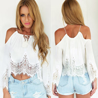 Fashion Women Sexy Off Shoulder Lace Chiffon Shirt Boho Tassels Crop Top Blouse