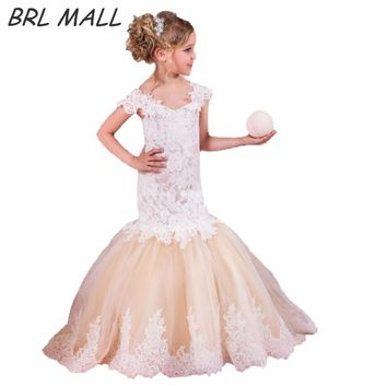 Elegant Champagne Mermaid girls dresses for party and wedding Short sleeves Flower Girl Dresses Lace Appliques communion dresses