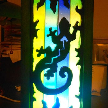 Art Deco Lamp, Desktop Glass Gecko Mood Lamp, Stained Glass Desk top Lamp, Nightlight, Southwestern Lamp, Home Decor,