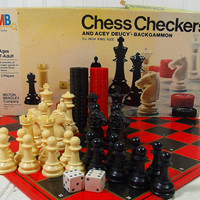 Vintage Milton Bradley Chess Checkers & Acey Duecy Backgammon Set - Complete Classic Games Design with Regulation Double Faced Playing Board