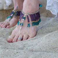 Beaded Fringe Barefoot Sandals Gypsy shoes bohemian sandals Amethyst purple teal gold Fringe Sandals Statement body jewelry Fringe Anklet