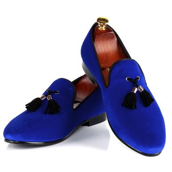 Harpelunde Mens Shoes Casual Blue Velvet Loafers Shoes Tassel Flats Size 7-14