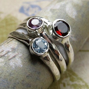 Gemstone Ring... Natural Alexandrite Ring with Garnet and Aquamarine Jewels, straight from the ground... Stackable Sterling Silver Ring Set