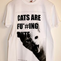 """Cats Are Fu*#ing Cute"" Tee with Kitty Print