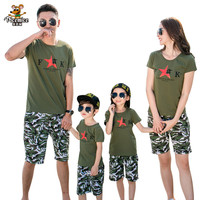 2017 Summer Style Family Matching Outfits Dad and Boy Camouflage T shirt shorts Matching Mother Daughter Clothes Family Clothing