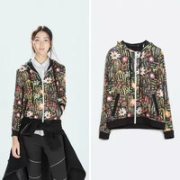 Black Floral Print Hoodie Zippered Jacket