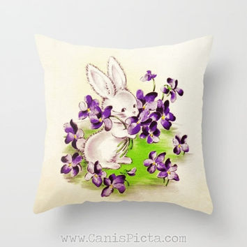 Vintage Easter Card Design Bunny 16x16 Graphic Print Throw Pillow Cover Decorative Home Decor Art Baby Rabbit Pastel Whimsical Lilac Flower