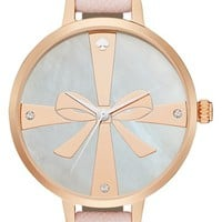 Women's kate spade new york 'metro - strapped up' leather strap watch, 34mm - Ballet Slipper Pink/ Rose Gold