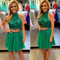 High Neck Homecoming Dress, Two Piece Homecoming Dress