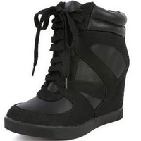 Bamboo Jodie-03 Women's Lace Up Ankle Bootie High Top Hidden Wedge Heel Sneakers, Jodie-03 Sneakers