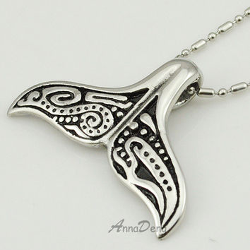 Lovely Whale Tail Pendant Stainless Steel Necklace Chain for men or women Christmas gift ROCK Biker Rider Jewelry AP1083