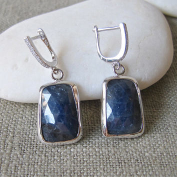 Sapphire Silver Earrings- Rectangle Stone Earrings- Birthstone Earrings- Gemstone Earrings- Rectangle Earrings- Statement Earring- Earring