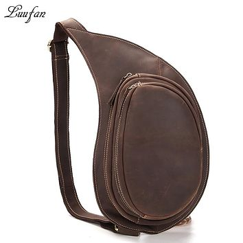 Men genuine leather chest bag vintage real leather crossbody bag functional messenger bag Cow leather casual shoulder bag
