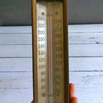 Moeller Thermostat/ Antique Thermometer/ Brass Thermometer/ 1930s Brass Steam Gauge Thermometer/ Steampunk Thermometer