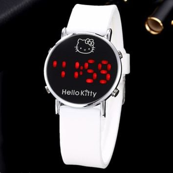 Relogio Feminino LED Digital Hello Kitty Cartoon Watch Women Fashion Silicone Children Quartz-watch Female Clock Girls Relojes