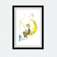 Watercolor boy poster, colorful boy print, wall art gift, nursery decoration, home decor, kids room illustration, boys room decor, W731