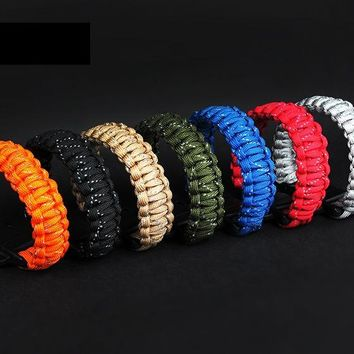 Outdoor Fluorescence Paracord Survival Bracelets  Parachute Cord Wristband Emergency Rope  Whistle Buckle Kits Reflective 9 core