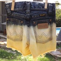 Kids Distressed Dip-Dyed Yellow Denim High Waisted Shorts