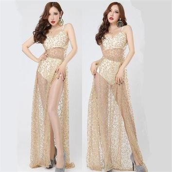 female new nightclub bar stage costumes see-though dress gold suspender hollow dress singer dancer DJ DS performance show wear