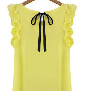 S-XL New 2014 women's o-neck lotus leaf pullover lacing bow chiffon shirt top women's blouse White and Yellow Color